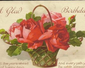 C Klein Basket of Red Roses Stunning Artist Signed Unused Vintage Birthday Postcard Catherine Klein – Suitable for Framing