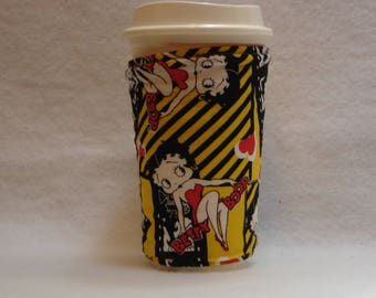 Arti REVERSIBLE Coffee Cup Sleeve, bETTY bOOP Red & White Polka Dot with Pocket