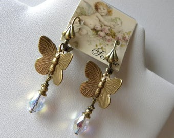 Butterfly Earrings Butterflies with Swarovski Crystals Aurora Borealis Crystals Antiqued Brass Butterfly