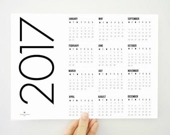 Printable Yearly Calendar Slim 2017, Yearly Calendar, Wall Calendar, 2017 Planner, Minimal Calendar, Wall Decor, Office Decor, PDF File