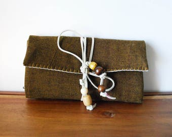 Olive Wool Trifold Clutch Wallet with White Leather Tie