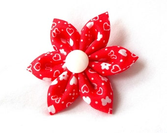 Vermillion Hearts Hair Flower Tsumami Kanzashi Clip
