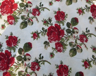 Rose Fabric Beautiful Cotton Floral Fabric Morning Glory Moda Fabric Red Roses Fabric One Yard Robyn Pandolph for Moda Fabrics Red Roses