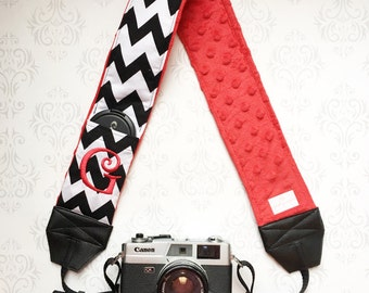 Embroidered DSLR Camera Strap, Padded with Lens Cap Pocket, Nikon, Canon, DSLR Photography, Photographer Gift, Wedding - Black Chevron & Red
