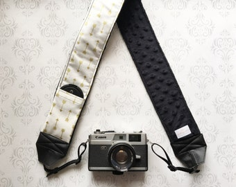 DSLR Minky Camera Strap, Padded with Lens Cap Pocket, Nikon, Canon, DSLR Photography, Photographer Gift,  - Gold Arrows with Black