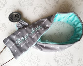 Personalized Stethoscope Cover - Gift for a Nurse, RN, EMT, Doctor, Medical Assistant, Stethoscope ID - Gray Arrows with Aqua