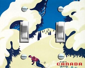 CANADA Tree SKI Vintage Ski Poster Switch Plate (single)  - - FREE Shipping - -