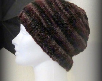 knit hat - hand knit hat - hat - beanie - brown knit hat - brown hand knit hat - ribbed hat - knit beanie - brown beanie - hand knit beanie