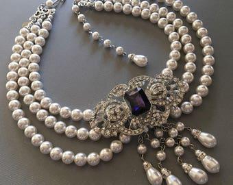 Victorian Pearl Necklace with Backdrop Brooch in Purple Rhinestone or your color 3 strand Swarovski pearls Art Deco Gatsby wedding bridal