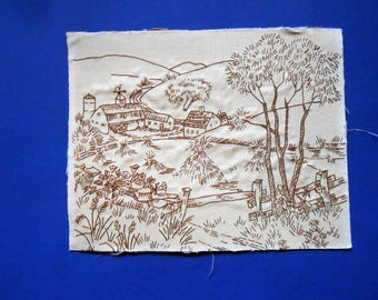 Vintage Needlework, Tan and Brown Farm Scene