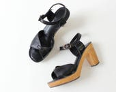 Black Platform Sandals 7 • 70s Platforms • Wood Platform Shoes • Baretraps Heeled Sandals • Black Leather Sandals • Platform Heels | SH421