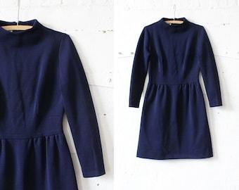 Jonathan Logan Dress S • Wool Dress • 60s Mod Dress • High Neck Dress • Knit Dress • Navy Blue Dress • Knit Dress • Navy Blue Dress  | D914