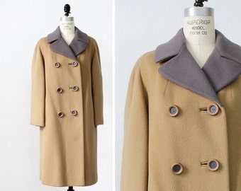 Vintage Wool Coat M • Double Breasted Coat • 60s Coat • Camel Wool Coat • Winter Coat • Vintage Coat • Coat Wool • Flare Coat | O346