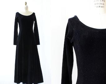 Black Velvet Dress M • 90s Maxi Dress • Black Maxi Dress • Vintage Maxi Dress • 90s Velvet Dress • Grunge Dress • Goth Dress   D1161