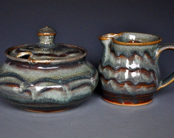 Ceramic Sugar Bowl and Creamer Stoneware Pottery Creamer and Sugar Set A