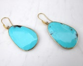 Estate 14k Solid Yellow Gold and  Faceted Turquoise Huge Drop Earrings