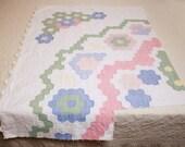 Large Piece of an Unusual Flower Garden Vintage Cutter Quilt