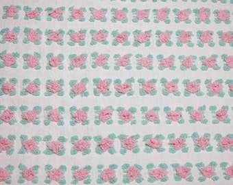 24 x 18 Inches Pink and Aqua British Vantona Rosebud Vintage Chenille Bedspread Fabric Piece