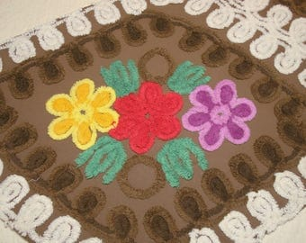 Dark Chocolate with Bright Flowers and White Curlicues Vintage Chenille Bedspread Fabric - Large Piece with 2 Flower Clusters