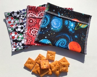 Boys Reusable Snack Bag Set FREE SHIPPING Set of 3 Soccer Planets Bandana
