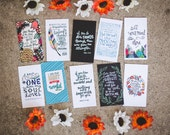 Hand-lettered Mini Scripture Cards - Set of 10 - encouragement card, bible verse art, hand-lettering, bookmark, christian gift