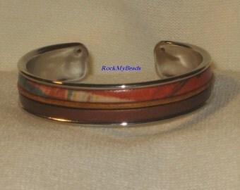 Earthtones, beige, & Copper Leather Cuff Bracelet,jewelry,leather cuff,earthtone leather cuff bracelet,copper cuff bracelet,womens bracelet