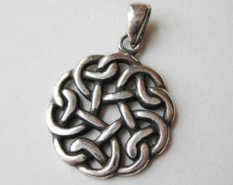 Vintage Sterling Silver Celtic Love Knot Sweetheart Necklace Pendant