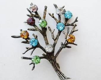 Vintage 50s Gold Vermeil Sterling Silver Birthstone Family Tree Mother's Brooch Pin