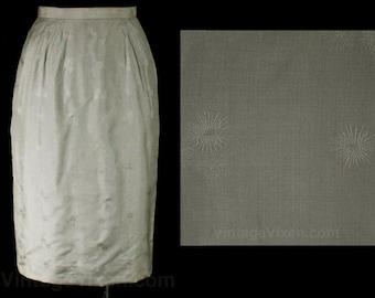 Size 2 Silk Skirt - XS Silvery Gray Atomic Brocade Straight Wiggle Skirt - Mid Century Starburst Pattern - 50s 60s Japan - Waist 24 - 47635