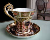 Royal Crown Derby Imari Cup & Saucer, English Porcelain, Early Red Mark Gold Gilt Decoration Demitasse Cup and Saucer Set
