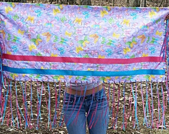 Fancy Dance Shawl Girl Regalia NDN Blue and Dark Pink Ribbon Fringe Yellow Sparkle Material
