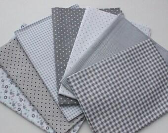 7 pieces Grey color mix cotton fabric set 47x47cm. Quilt set fabric