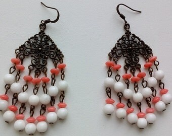 Coral agate earrings