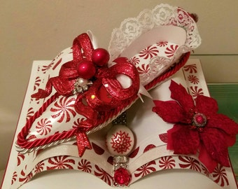 3D Christmas Slipper Greeting Card - Handmade Card with Handmade Slipper Attached - peppermints, lace and holiday ornaments in red and white