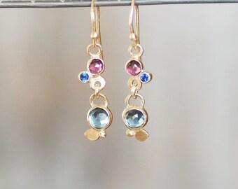 Sapphire Garnet Topaz Dangle Earrings - 14k Gold Botanical Earrings - Ready to Ship