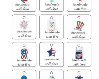 Printable Square Thank You Gift Tags Labels PDF Crochet Knit PDF only Americana Themed