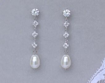 Pearl Drop Earrings, Pearl Bridal Earrings, Crystal & Pearl Wedding Earrings,  LORIE Long Pearl