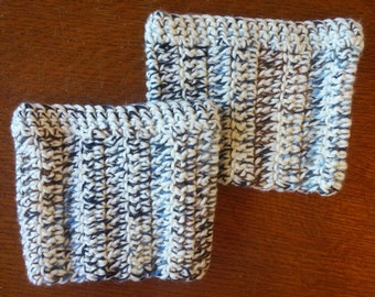 Boot Cuffs - Cream, Blue and Dark Brown
