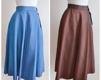 1940s 50s Reversible teal blue & brown taffeta skirt / 40s 1950s moire evening skirt - XXS XS