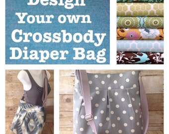 Custom Crossbody Diaper Bag - Pleated Bag with adjustable strap- Choose your own fabric - Custom Diaper Bag