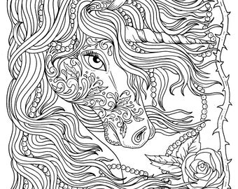 Unicorn And Pearls Fantasy Coloring Page Adult Instant Download Art