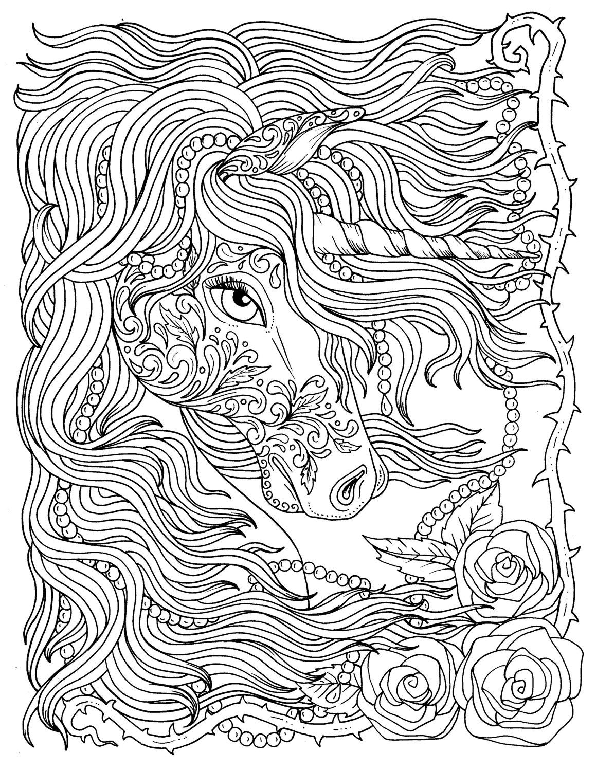 unicorn and pearls fantasy coloring page coloring