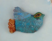 Ceramic Wall Art, ceramic bird, blue glazed pottery bird