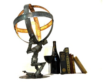 "WINE BOT - ""Atlas Shrugged"" - Wine Barrel Ring Desk Lamp - 100% Recycled"
