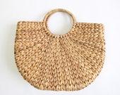 VINTAGE Straw Handbag Large Tote Bag