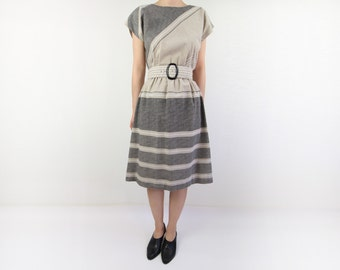 VINTAGE Sweater Dress Angora Striped Grey by WearitWellvintage