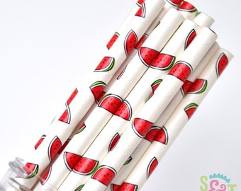 Watermelon Party Paper Straws - Cake Pop Sticks - Pixie Sticks - Qty 25
