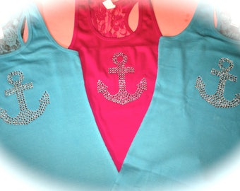 7 Hot Pink Bridesmaid Lace Tanks. Nautical Bachelorette theme Tanks.  Bridesmaid rhinestone anchor Tank Top. Pool Party Bachelorette.