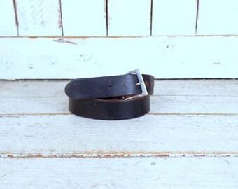 90s vintage  black distressed leather belt/38