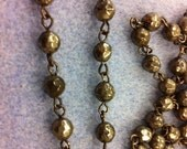 SALE Handmade Linked Beaded Chain 6mm Faceted  Pyrite gem Beads